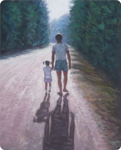 Girl with dad portrait painting