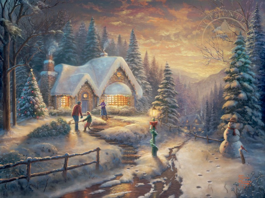 famous christmas paintings from thomas kinkade