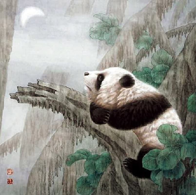 Chinese Red Panda Paintings